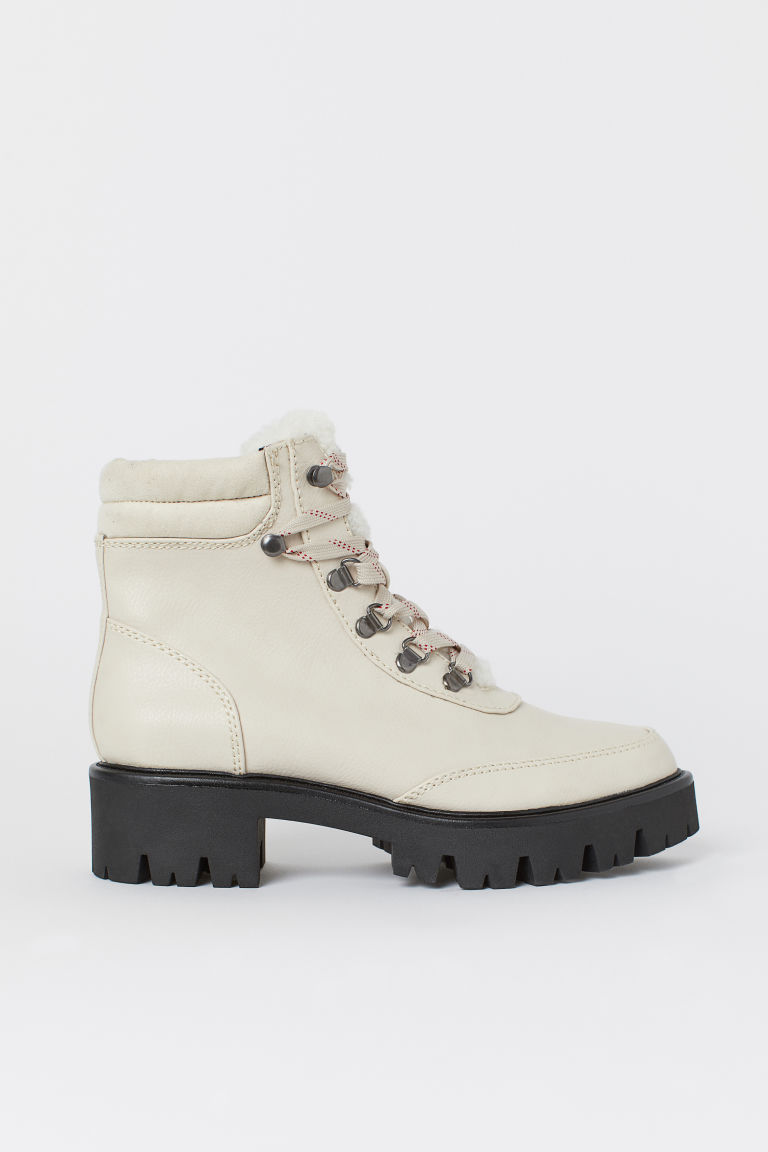 Pile-lined boots - Natural white - Ladies | H&M
