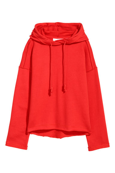 Wide hooded top - Bright red - Ladies | H&M