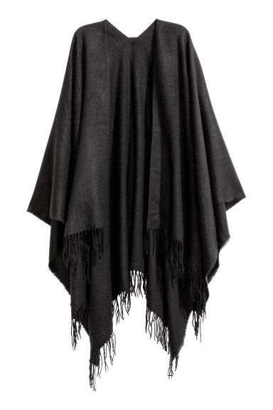 Woven poncho with fringes - Black - Ladies | H&M CN