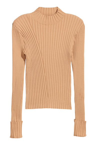 Ribbed top - Beige - Ladies | H&M GB