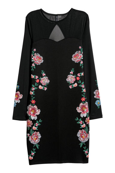 Fitted dress - Black/Roses -  | H&M