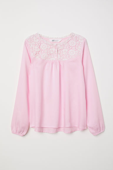 Blouse with lace - Light pink - Kids | H&M CN