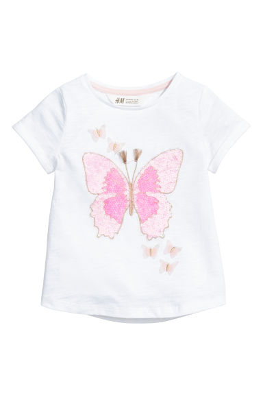 Short-sleeved top - White/Butterflies -  | H&M