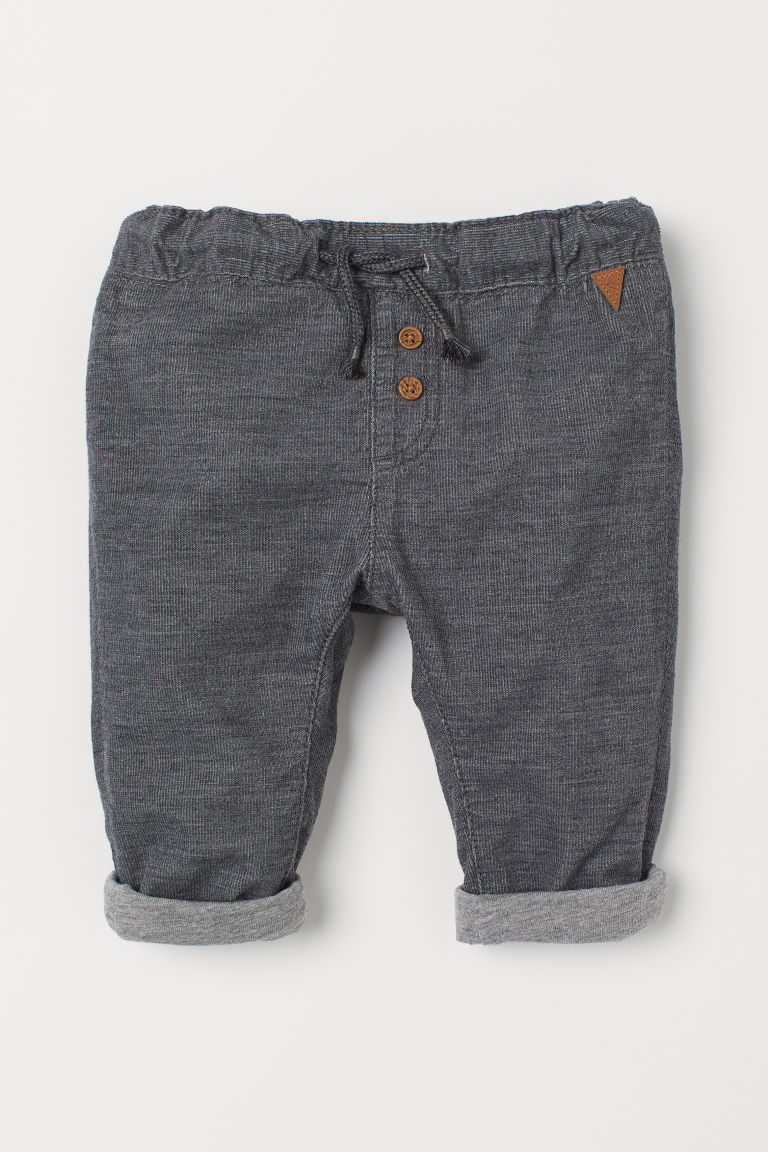 Fully lined corduroy trousers - Dark grey - Kids | H&M CN