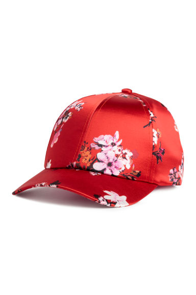 Satin cap - Red/Floral - Ladies | H&M CN