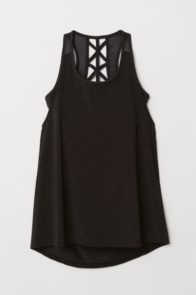 Sports top with sports bra - Black marl - Ladies | H&M