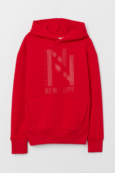 Printed hooded top - Red/New York - Kids | H&M
