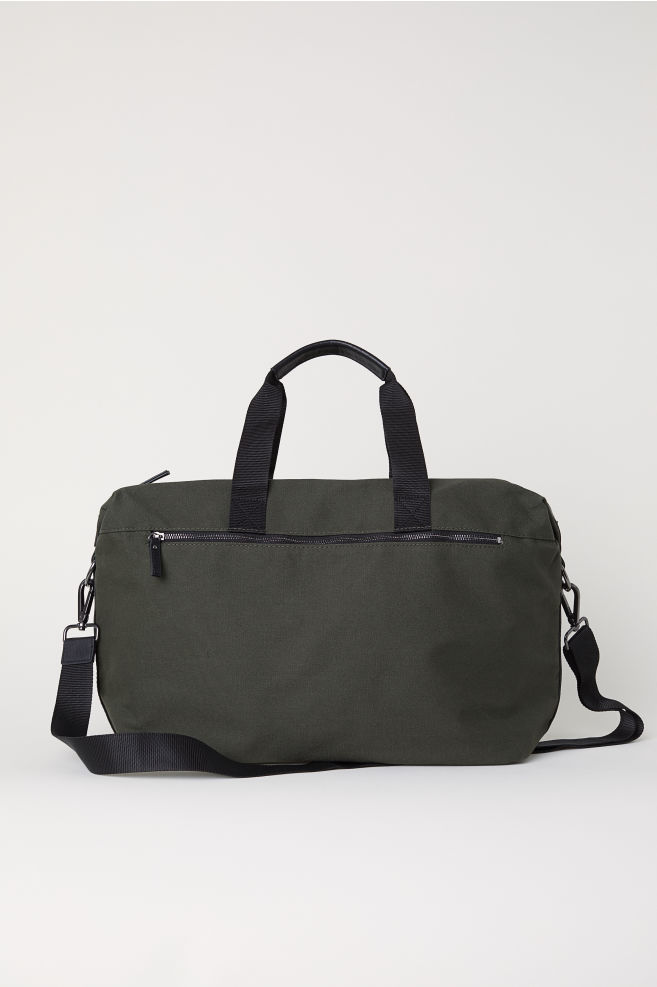 Canvas Weekend Bag - Dark khaki green - Men  43dc74fa35d59