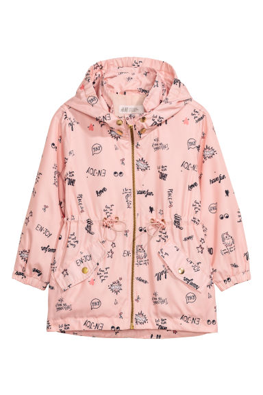 Outdoor jacket with a hood - Powder pink/Patterned - Kids | H&M