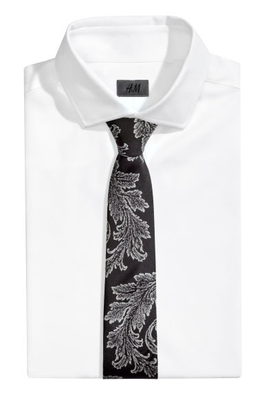 Patterned silk tie - Black/Paisley patterned -  | H&M