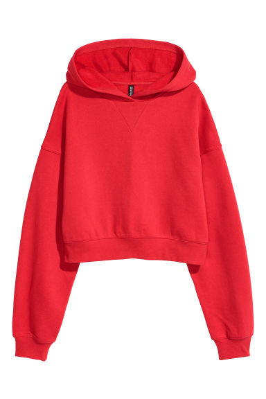 Cropped hooded top - Red - Ladies | H&M IE