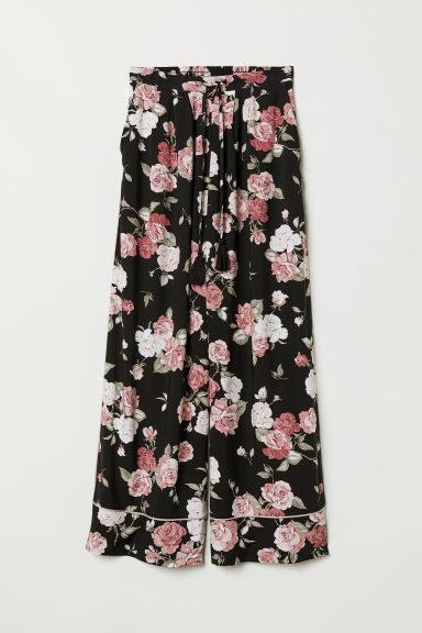Wide viscose trousers - Black/Floral - Ladies | H&M CN