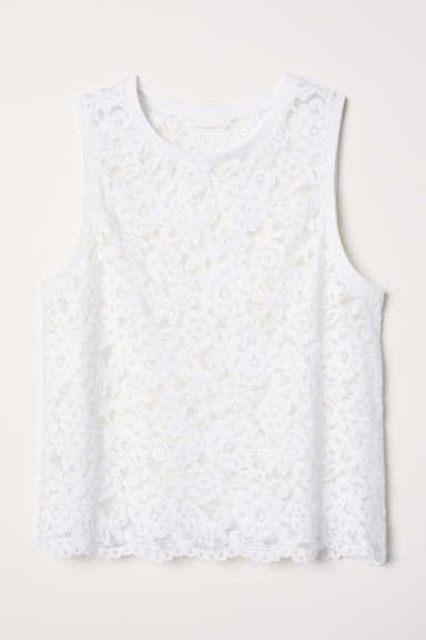 Sleeveless lace top - White - Ladies | H&M