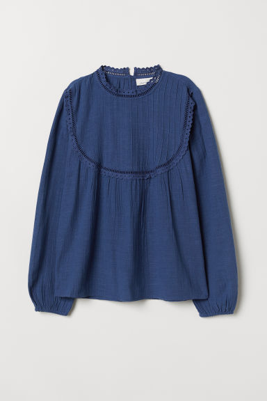 Stand-up collar cotton blouse - Blue - Ladies | H&M
