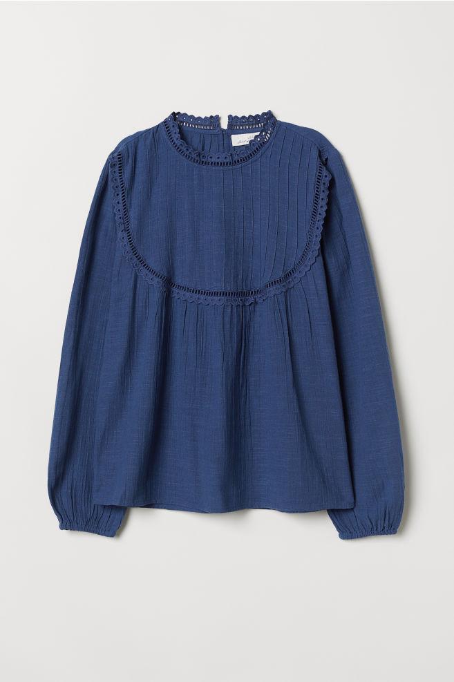 ec93837426805 Stand-up collar cotton blouse - Blue - Ladies