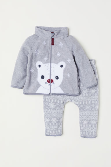 Fleece jacket and trousers - Light grey/Snowflakes - Kids | H&M