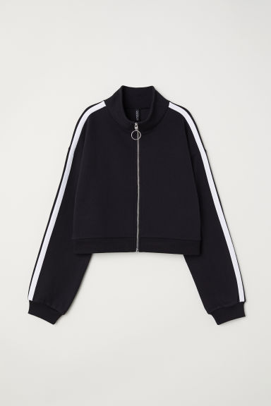 Zip-front sweatshirt - Black -  | H&M