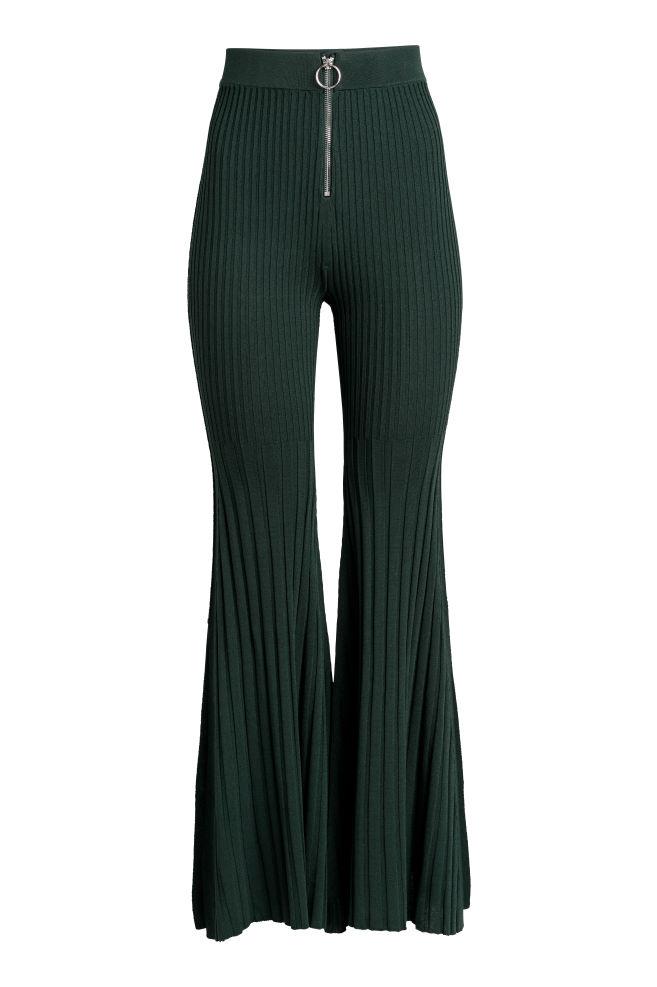 0e769d70ed Pantalón de canalé - Verde oscuro - MUJER