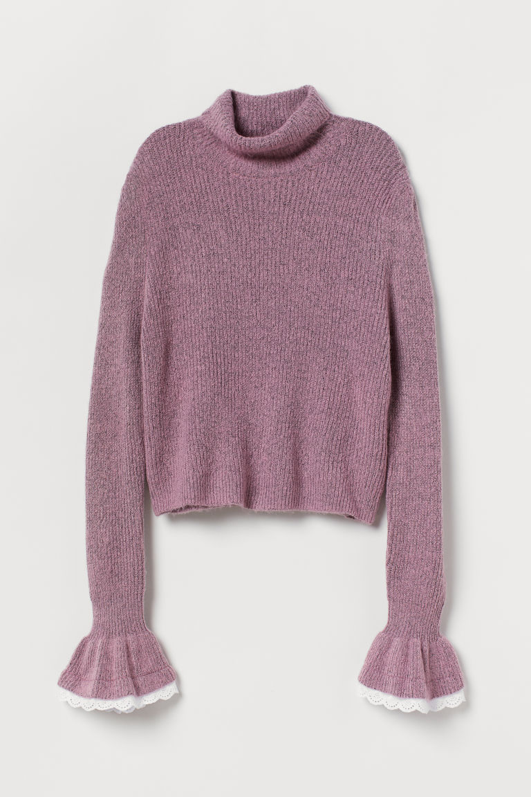 Jumper with frilled cuffs - Pink marl - Ladies | H&M CN