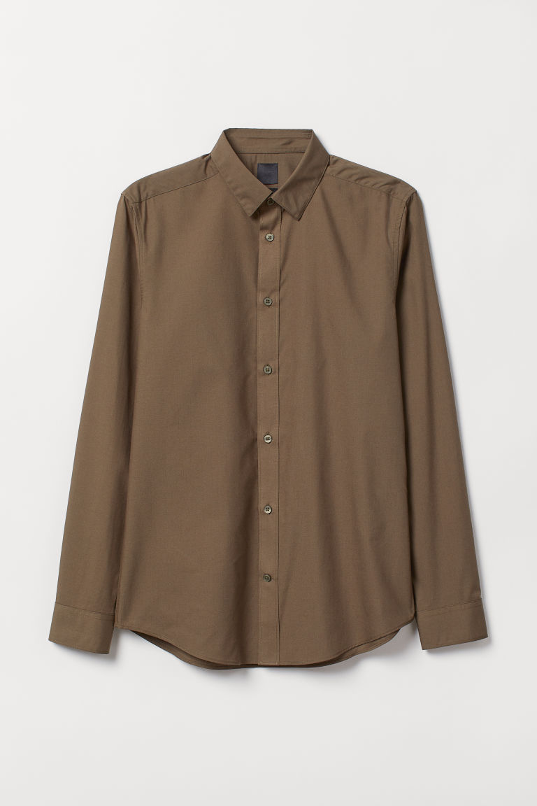 Easy-iron shirt Slim fit - Khaki green - Men | H&M IN