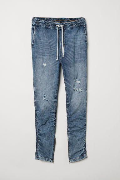 Slim Low Joggers - Denim blue/Trashed - Men | H&M