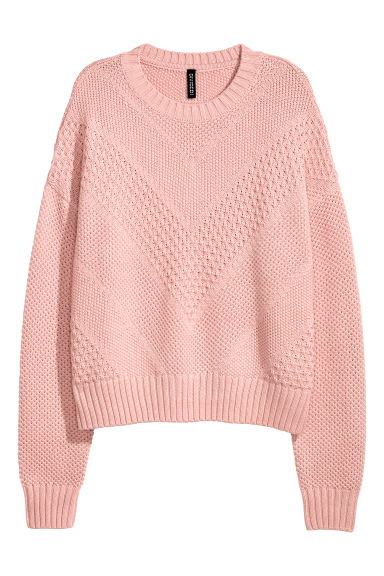 Textured-knit jumper - Light pink - Ladies | H&M