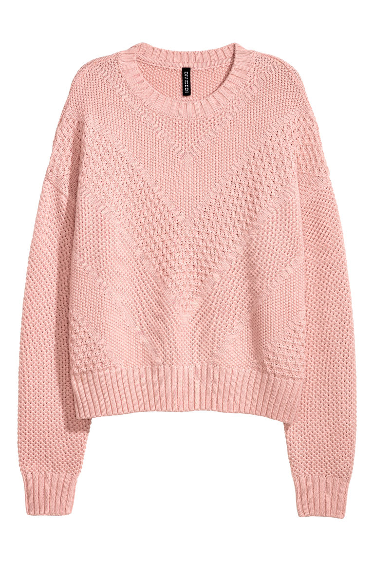 Textured-knit jumper - Light pink -  | H&M CN