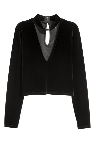 Velour top - Black -  | H&M