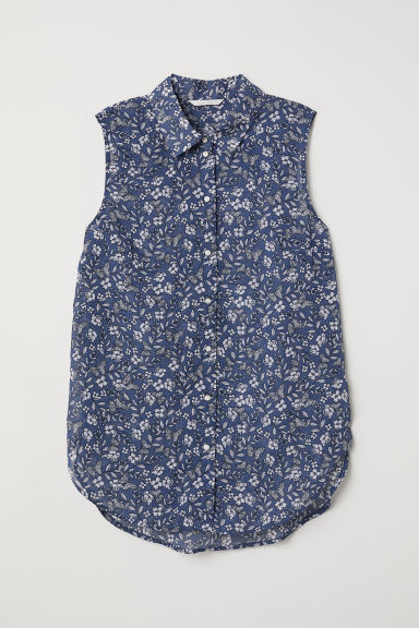 Sleeveless blouse - Blue/Floral - Ladies | H&M CN
