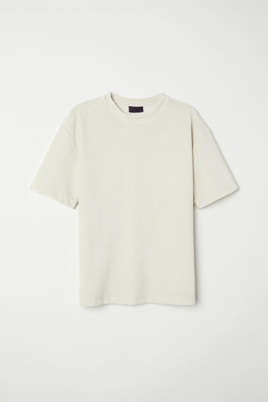 Velour T-shirt - Light beige -  | H&M GB