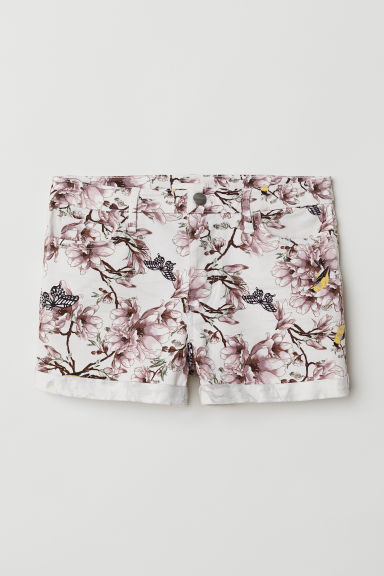 Short twill shorts - White/Floral - Ladies | H&M