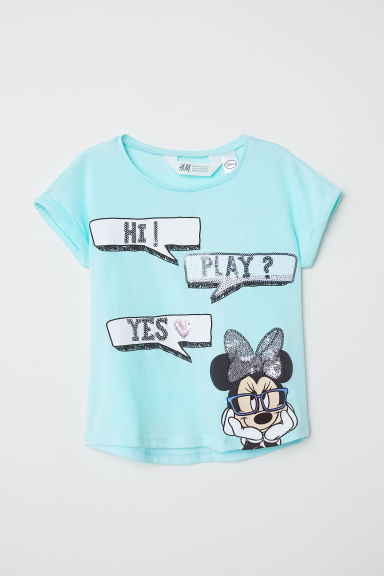 Reversible sequin T-shirt - Turquoise/Minnie Mouse - Kids | H&M