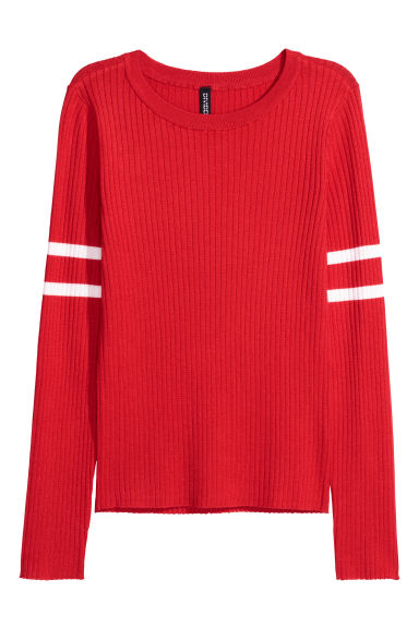 Ribbed jersey top - Bright red - Ladies | H&M