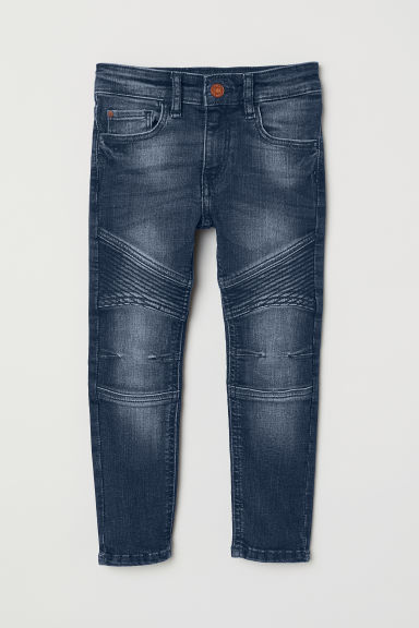 Skinny Fit Biker Jeans - Dark denim blue - Kids | H&M CN