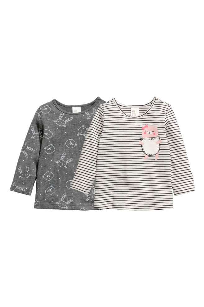 c68375691b 2-pack long-sleeved tops - Dark grey/Striped - Kids   H&M GB