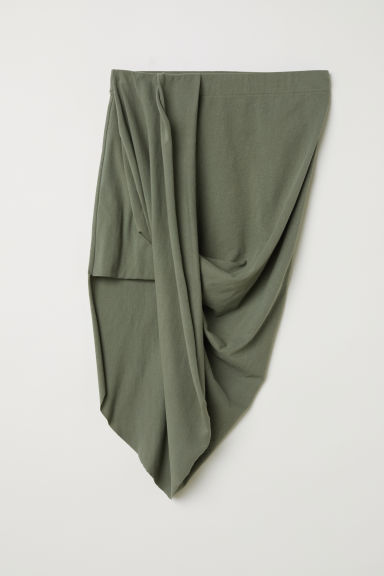 Draped jersey skirt - Khaki green - Ladies | H&M