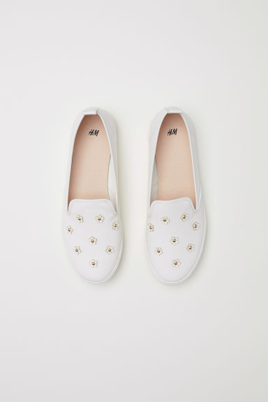 Slip-on trainers - White/Appliqués - Ladies | H&M