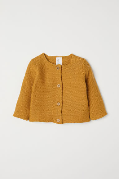 Knitted cotton cardigan - Mustard yellow - Kids | H&M CN