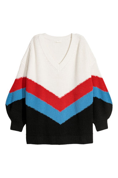 Knitted jumper - White/Multicoloured - Ladies | H&M CN