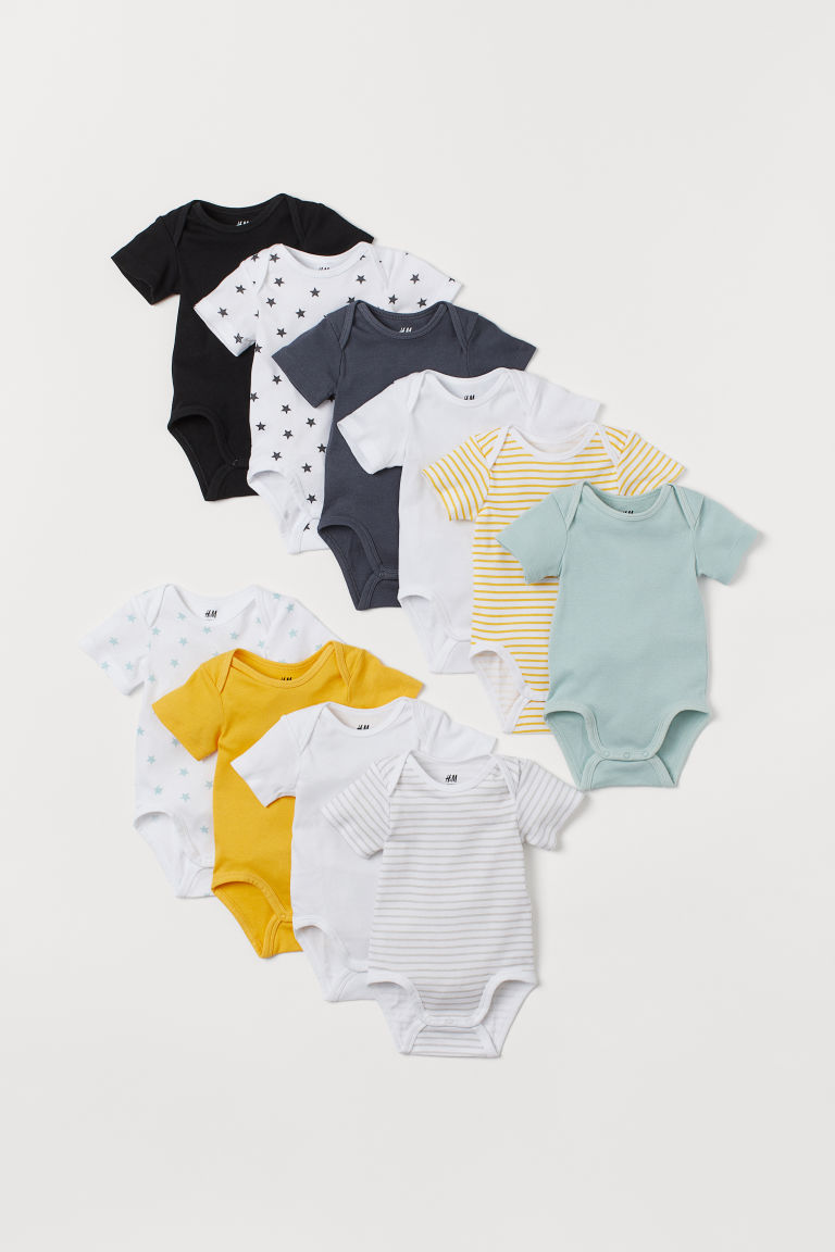 10-pack short-sleeve bodysuits - Mint green - Kids | H&M CN
