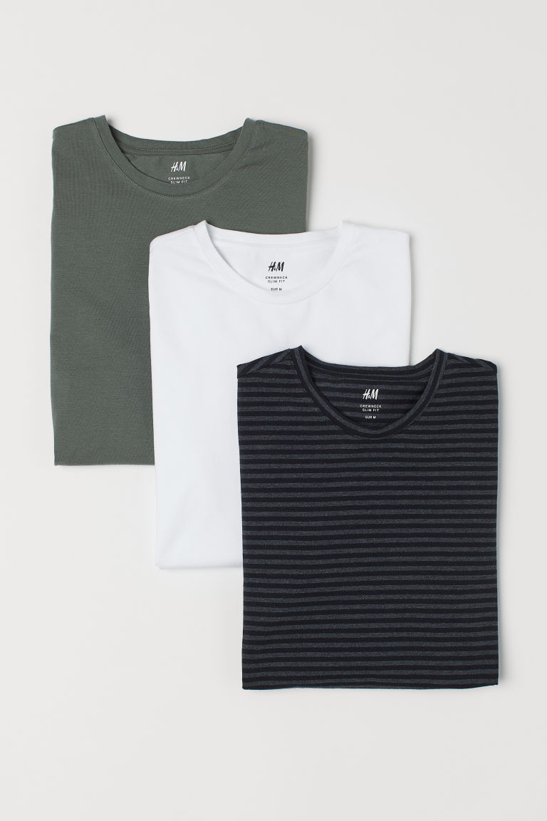 Camisolas Slim fit, pack de 3 - Verde caqui/Multicor - HOMEM | H&M PT