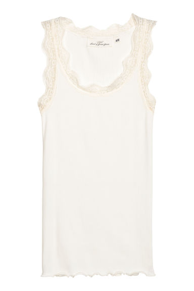 Ribbed lace-trimmed vest top - White - Ladies | H&M CN