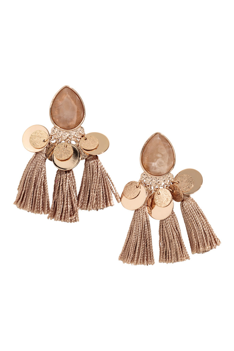Tasselled earrings - Gold-coloured/Dark beige - Ladies | H&M GB