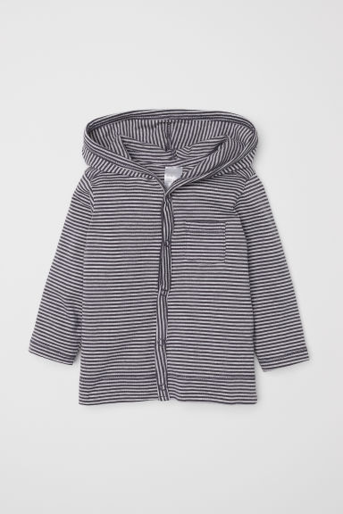 Jersey hooded cardigan - Grey/Striped - Kids | H&M CN