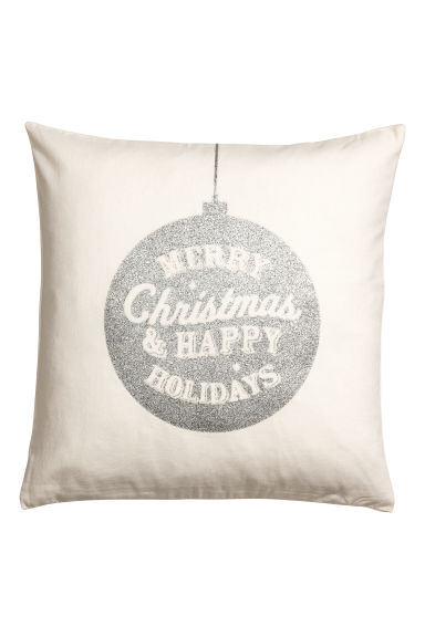 Christmas-print cushion cover - White/Silver-coloured - Home All | H&M CN