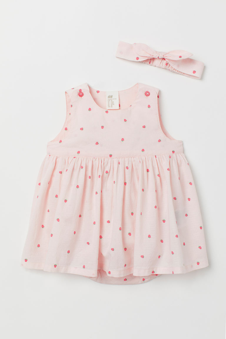 Dress and hairband - Light pink/Strawberries - Kids | H&M