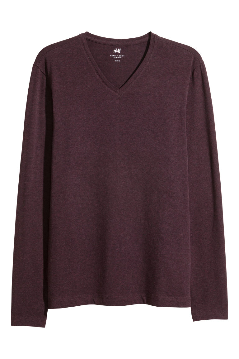 Long-sleeved T-shirt Slim fit - Burgundy - Men | H&M IE