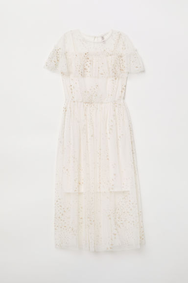 Printed mesh dress - White/Birds - Ladies | H&M GB