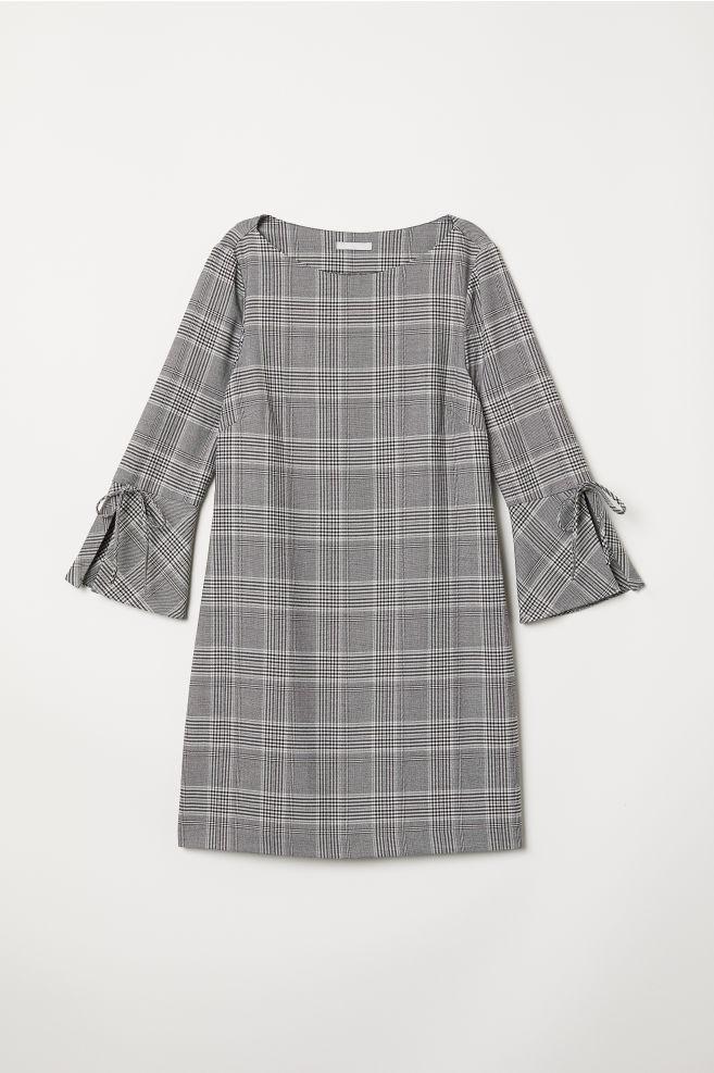 98def89c5fe5 Short Dress - Black/houdstooth-patterned - Ladies | H&M ...