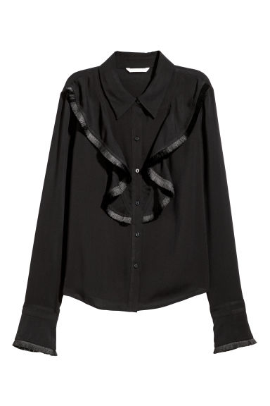 Shirt with a flounce - Black -  | H&M